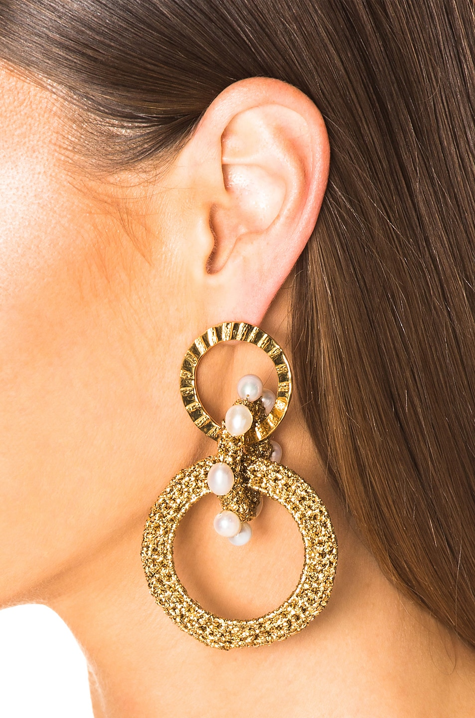 Image 2 of Lucy Folk Pharaoh Pearl Earrings in Gold