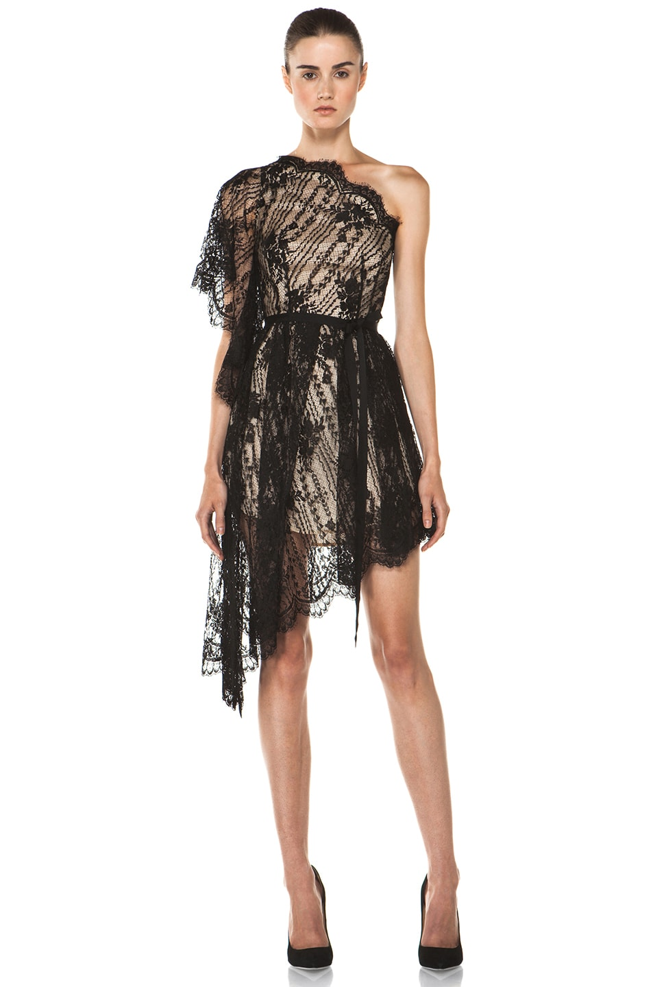Image 1 of Lover Serenity Lace Knit Dress in Black