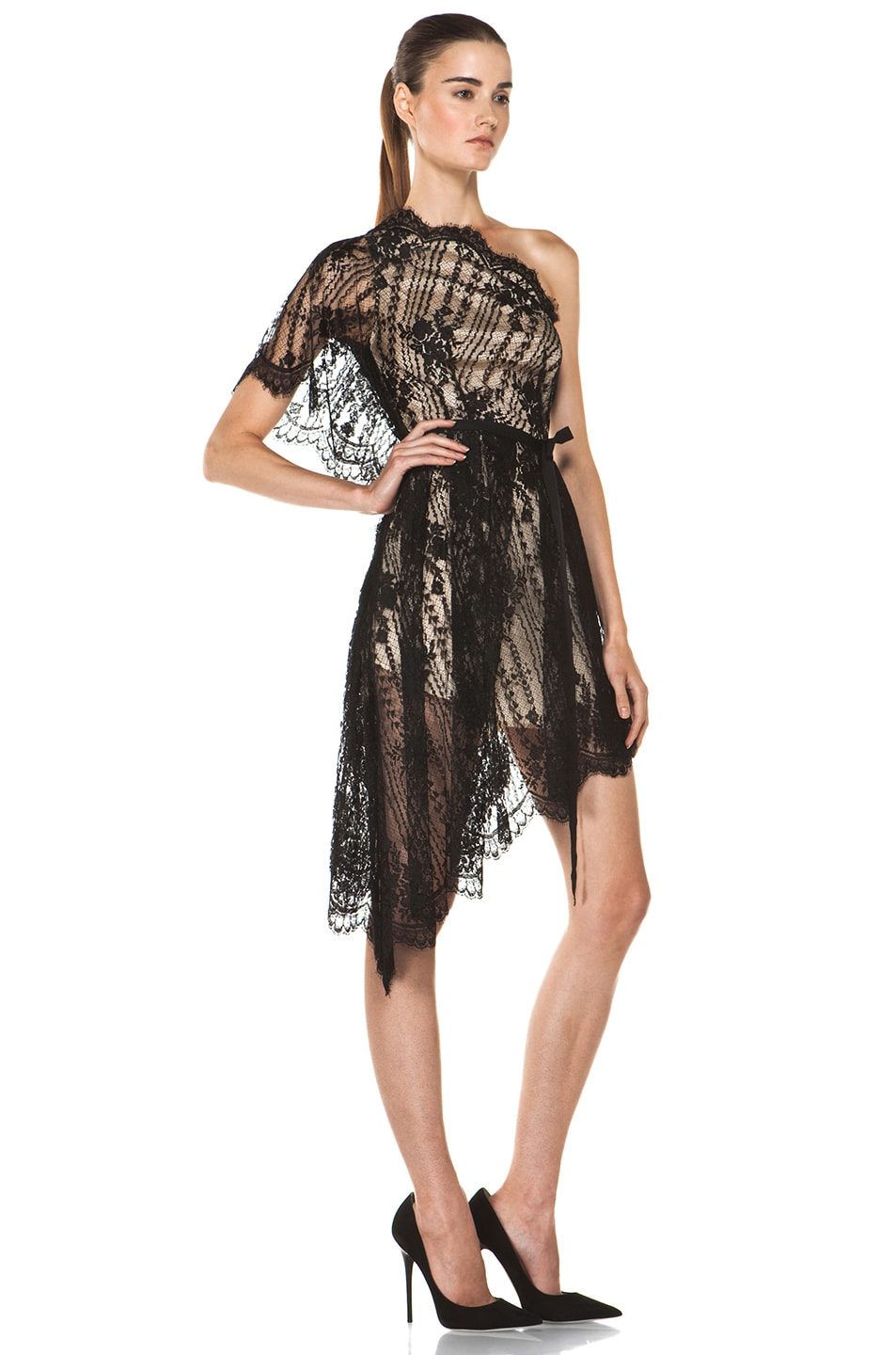 Image 3 of Lover Serenity Lace Knit Dress in Black