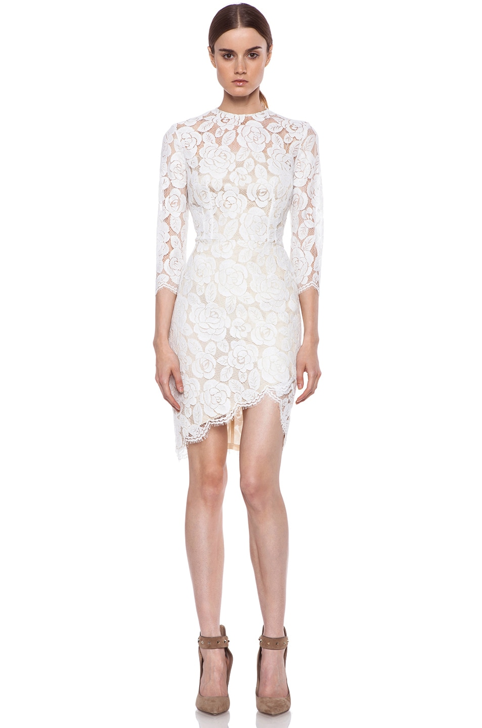 Image 1 of Lover Rosebud Asymmetric Lace Knit Dress in White