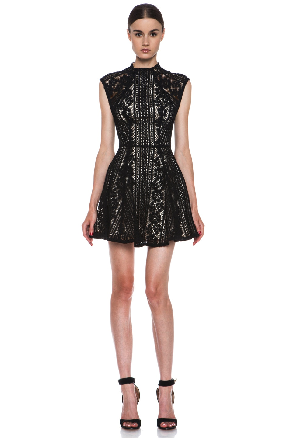 Image 1 of Lover Valentine Lace Knit Mini Dress in Black