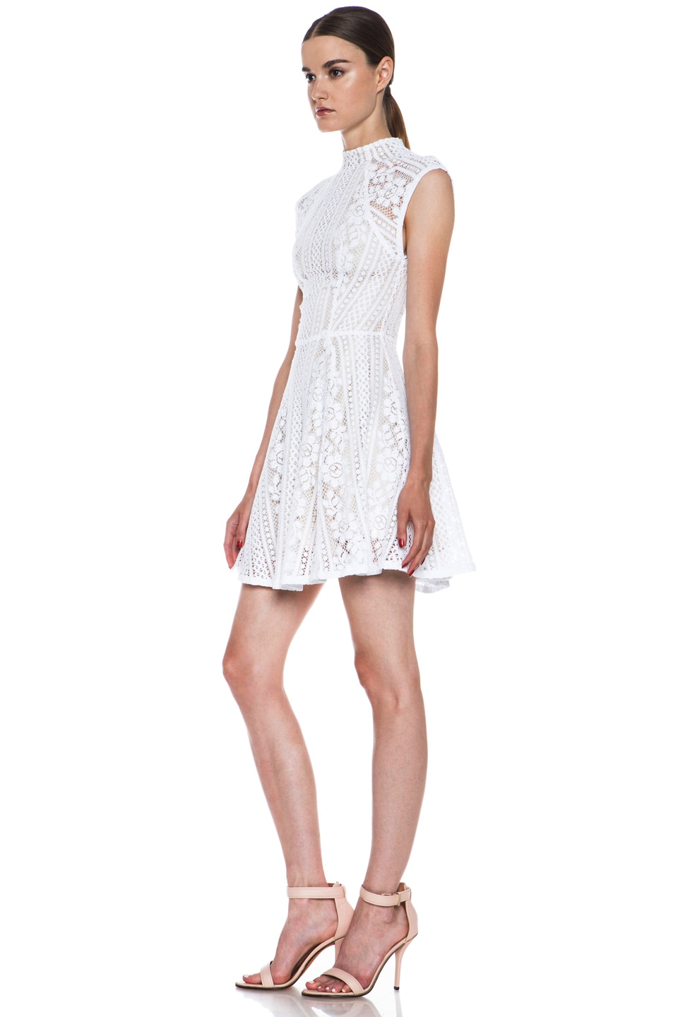 Image 2 of Lover Valentine Lace Knit Mini Dress in White