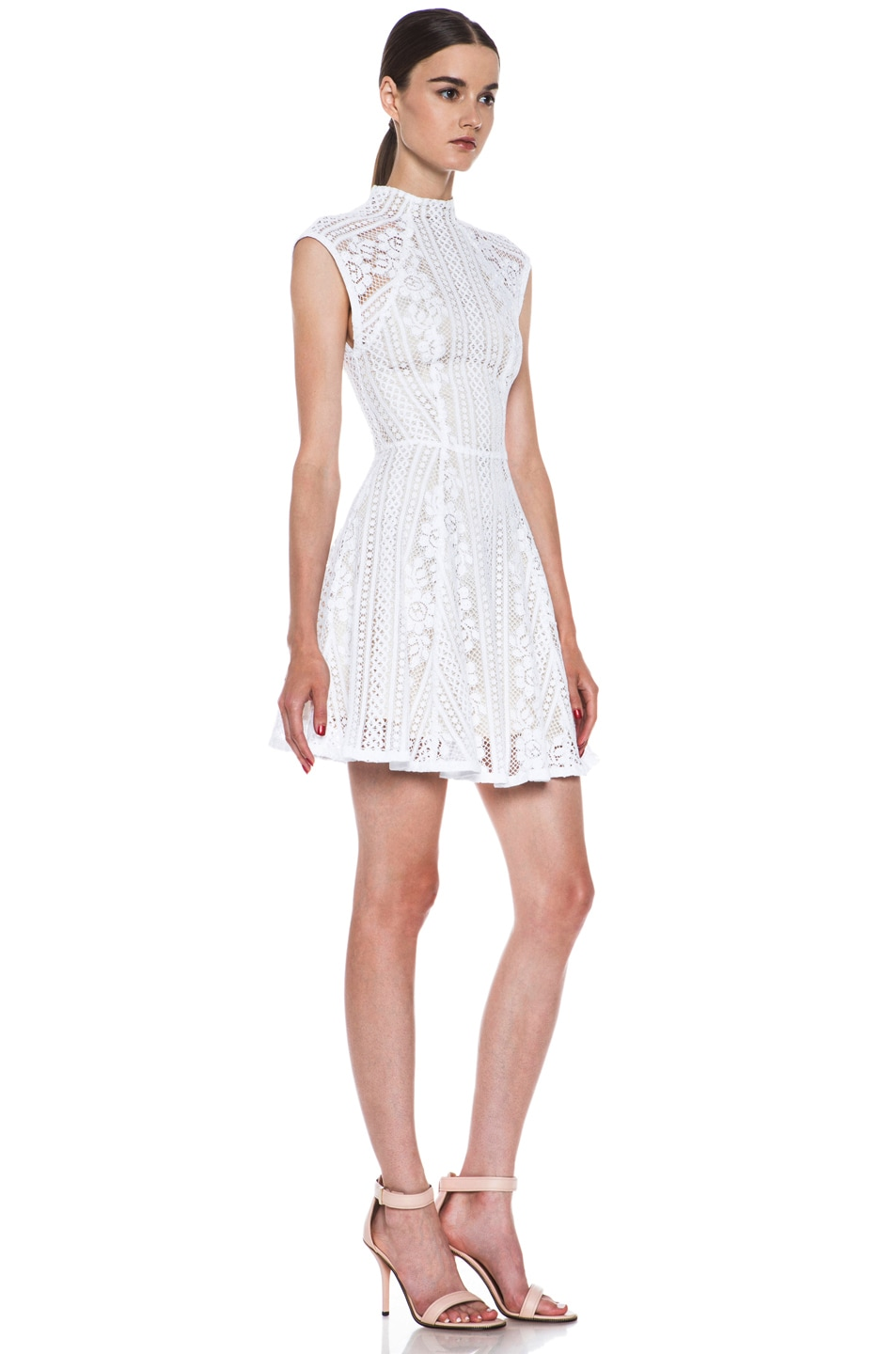 Image 3 of Lover Valentine Lace Knit Mini Dress in White