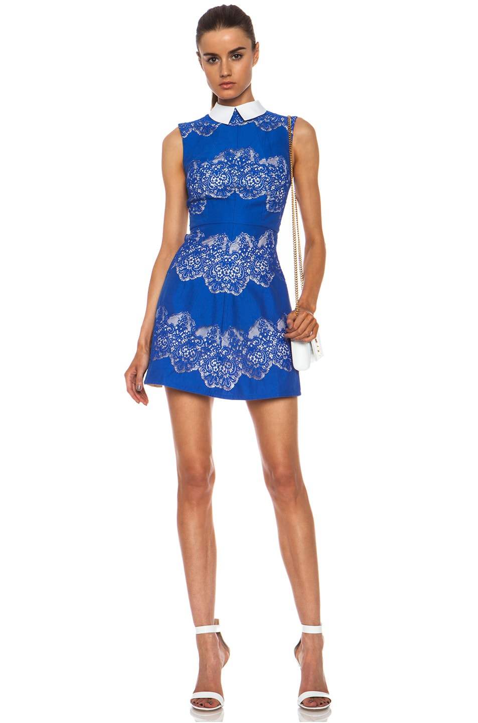 Image 1 of Lover Chelsea Nylon-Blend Dress with Removable Collar in Royal Blue