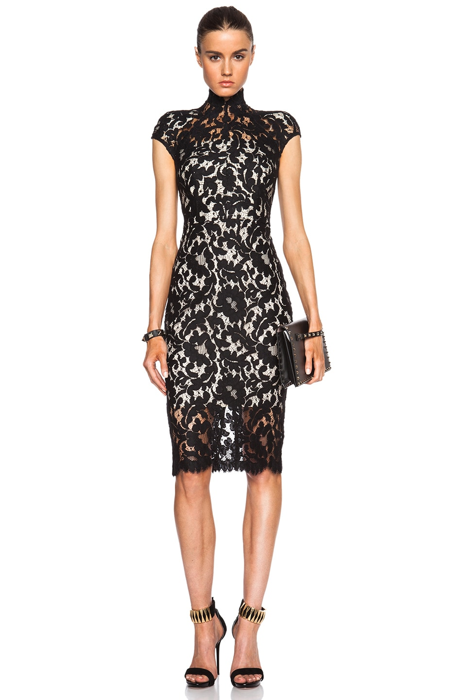 Image 1 of Lover Warrior Lace Midi Dress in Black