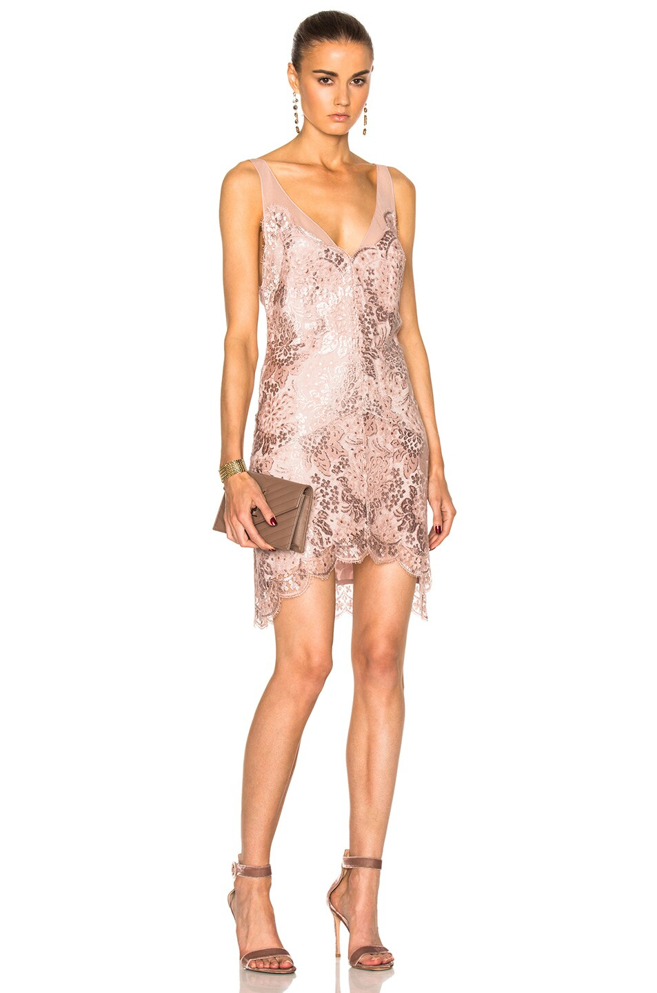 Lover Opium Slip Dress in Pink,Metallics