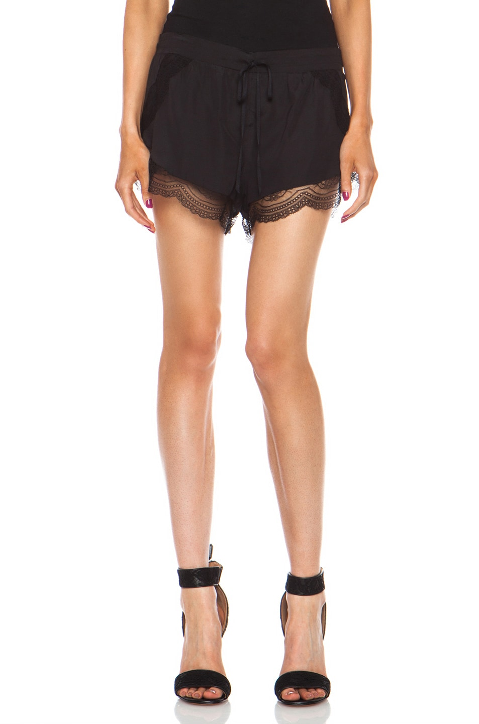 Image 1 of Lover Mystical Silk-Blend Cami Shorts in Black