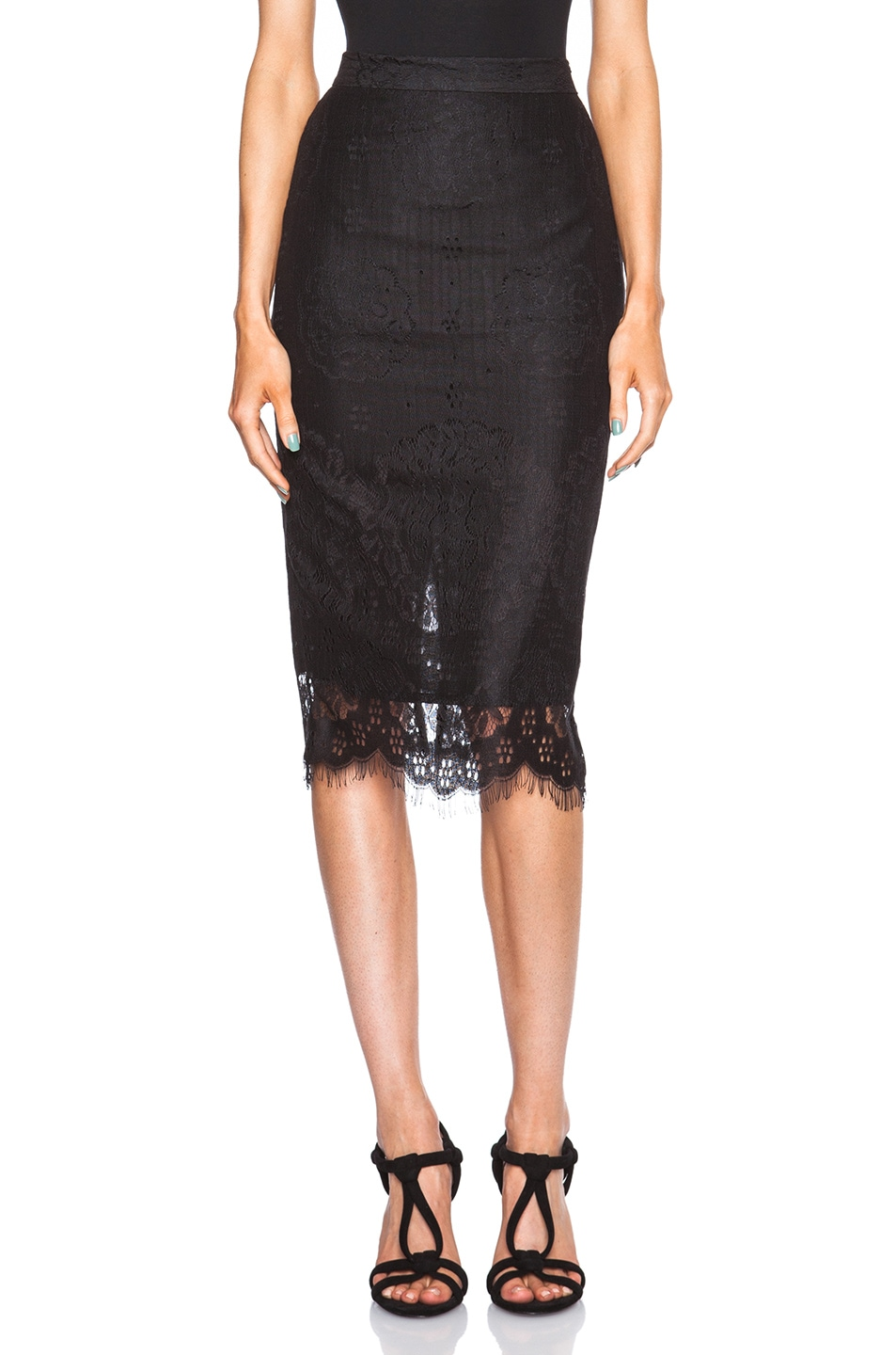 Image 1 of Lover Heather Pencil Skirt in Black