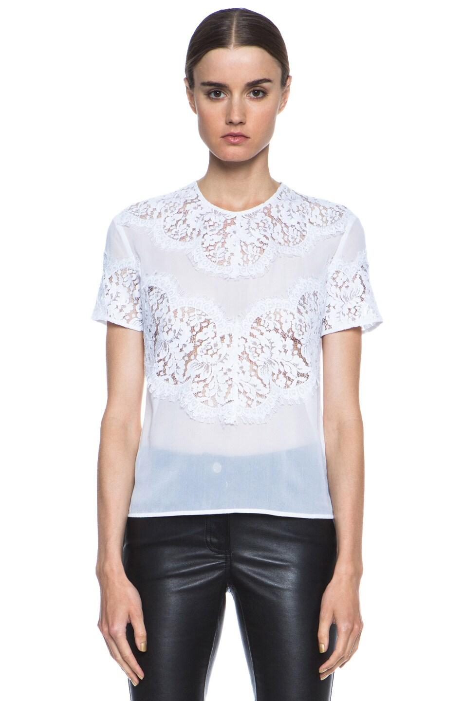 Image 1 of Lover V Bodice Silk Blouse in White