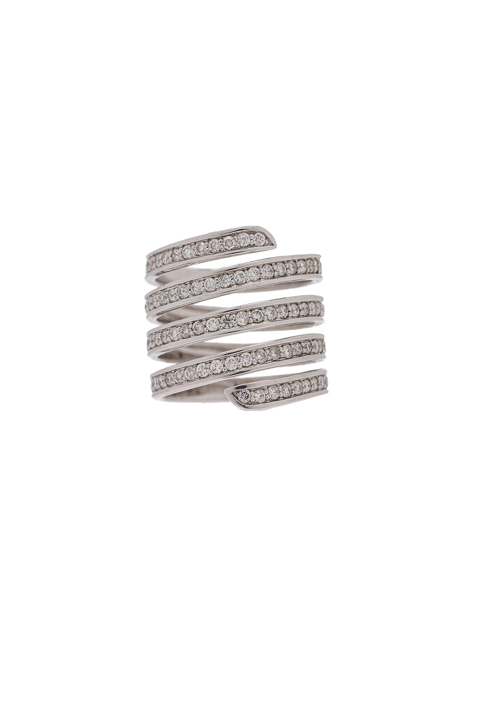 Image 1 of Lynn Ban Pave Coil Ring in Sterling Silver & White Diamonds
