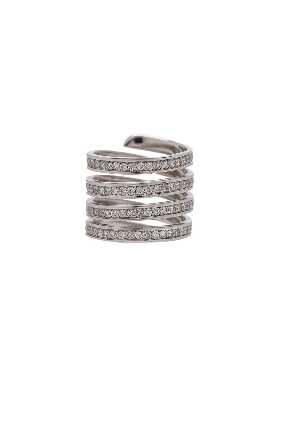 Image 3 of Lynn Ban Pave Coil Ring in Sterling Silver & White Diamonds