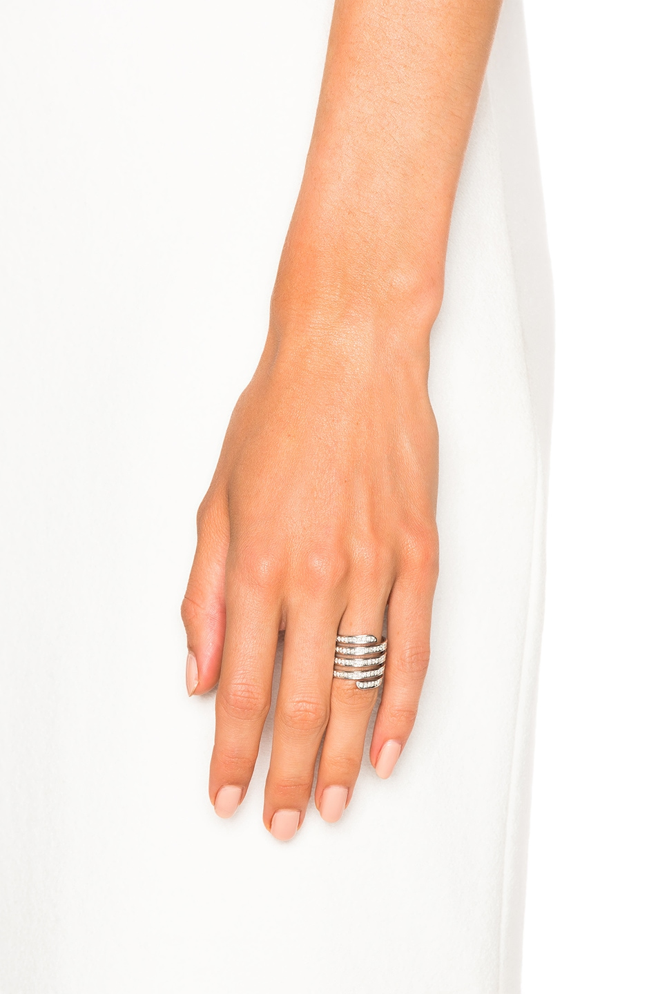 Image 4 of Lynn Ban Pave Coil Ring in Sterling Silver & White Diamonds