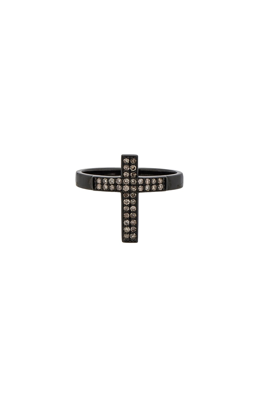 LYNN BAN Lynn Ban Pave Cross Ring In Metallics