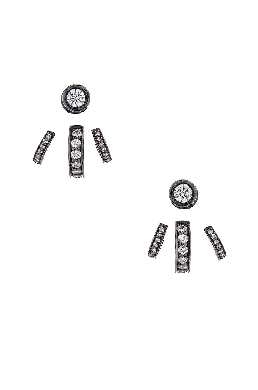 Image 1 of Lynn Ban Trilogy Ear Jackets in Black Rhodium Silver & Grey Diamonds