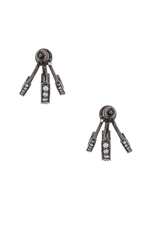 Image 3 of Lynn Ban Trilogy Ear Jackets in Black Rhodium Silver & Grey Diamonds