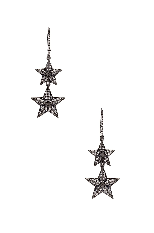 LYNN BAN Lynn Ban Double Pave Star Earrings In Metallics