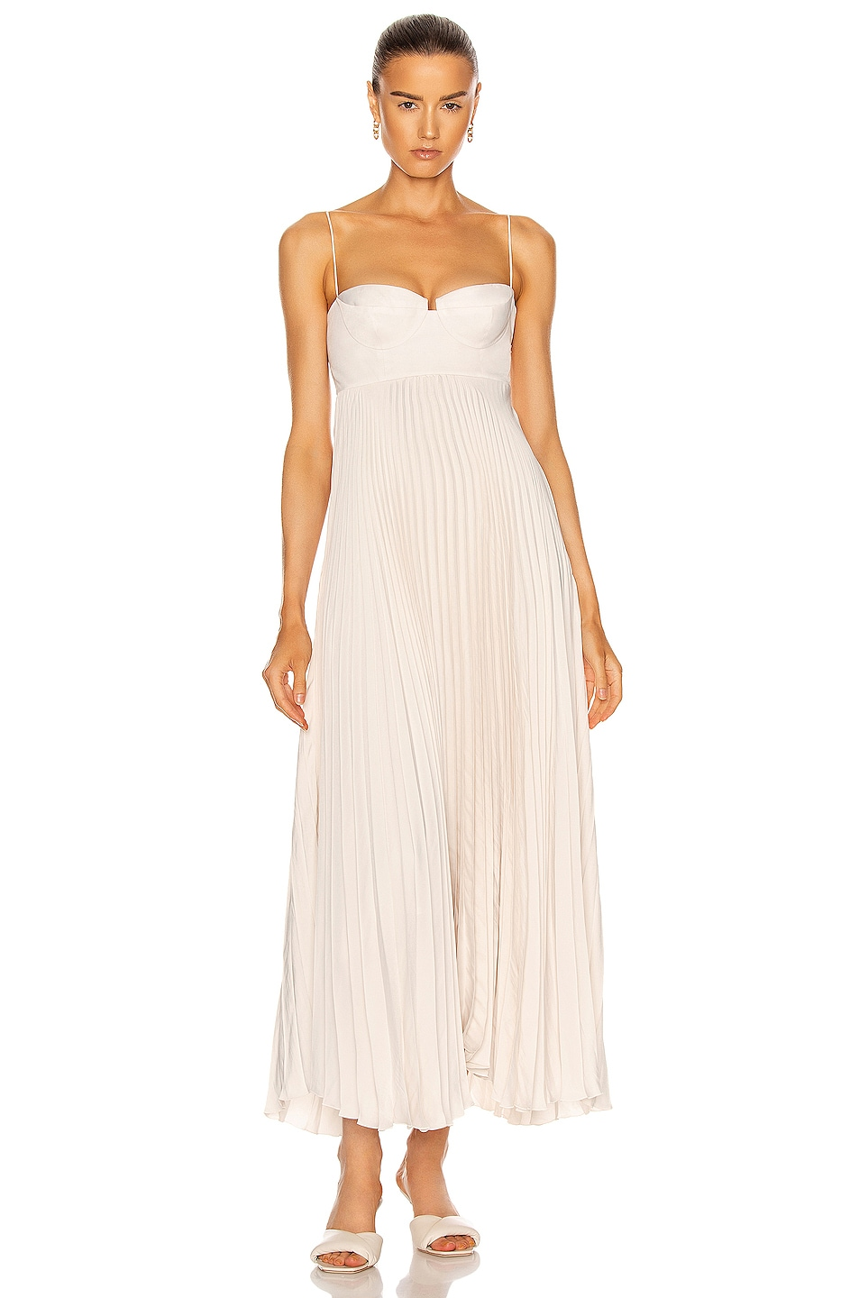 Image 1 of Magda Butrym Pleated Maxi Dress in Beige