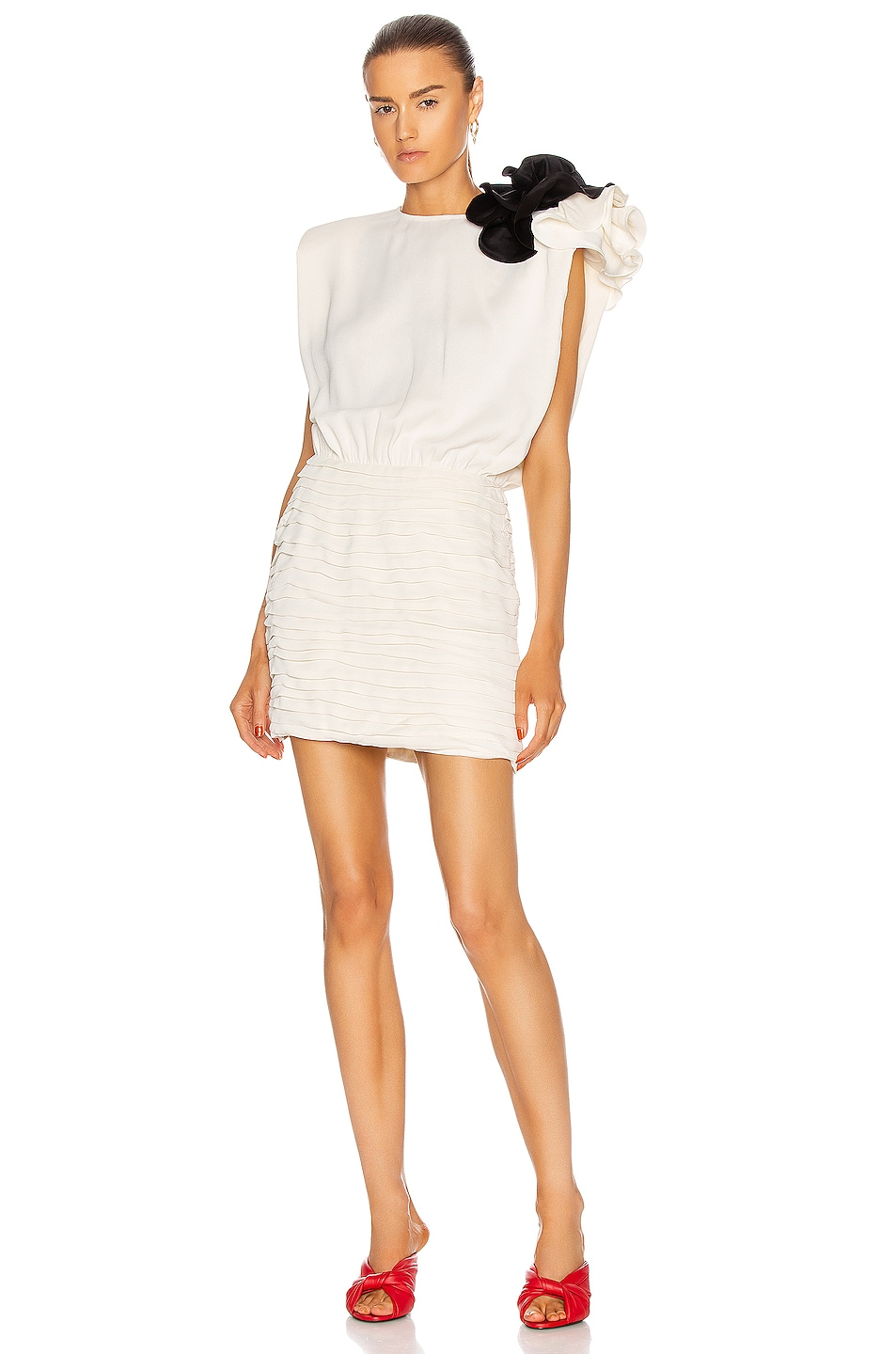 Image 1 of Magda Butrym Sleeveless Mini Dress With Shoulder Detail in Cream