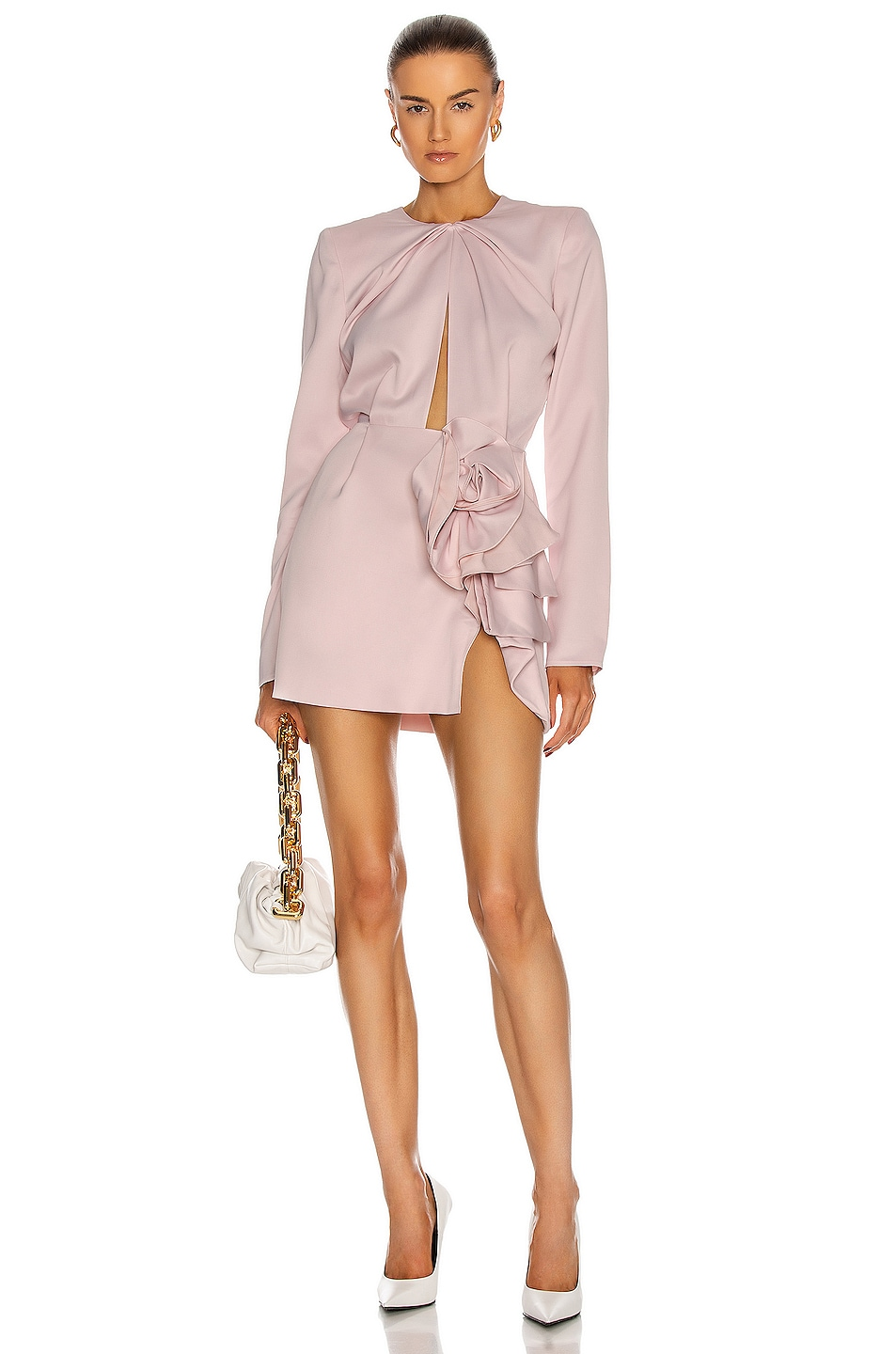 Image 1 of Magda Butrym Long Sleeve Mini Dress With Waist Detail in Pink