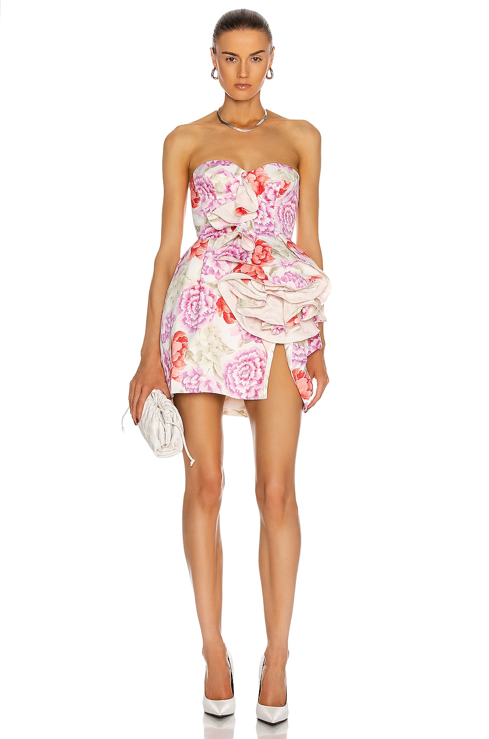 Image 1 of Magda Butrym Strapless Floral Print Dress in Cream