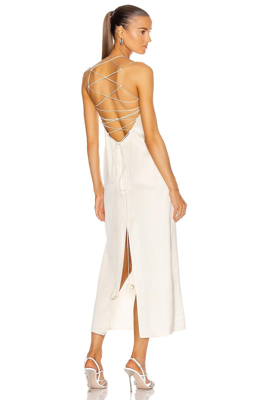 Image 1 of Magda Butrym Lace Up Back Slip Dress in Cream