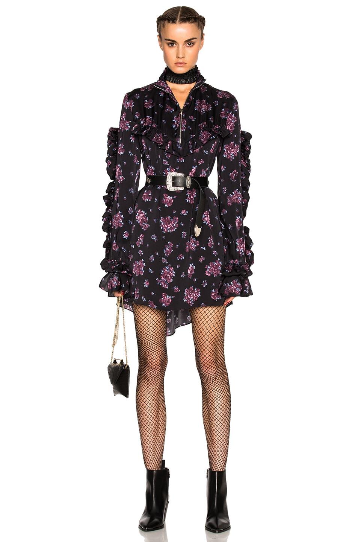 Image 1 of Magda Butrym Sicily Dress in Black & Purple Floral