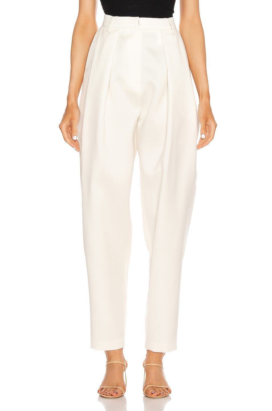 Image 1 of Magda Butrym Shaldon Pleated Pants in Cream
