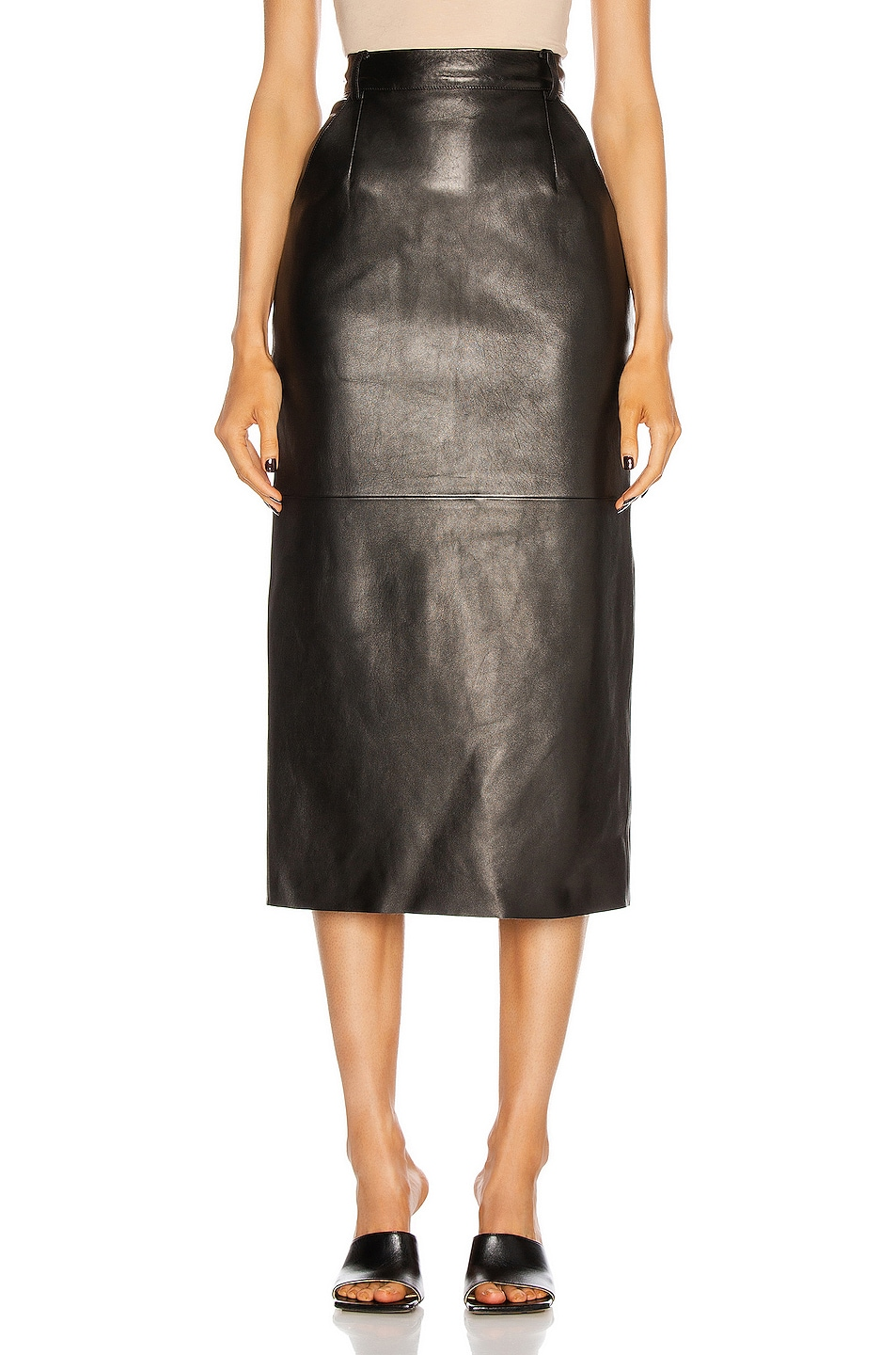 Image 1 of Magda Butrym Leather Midi Skirt in Black