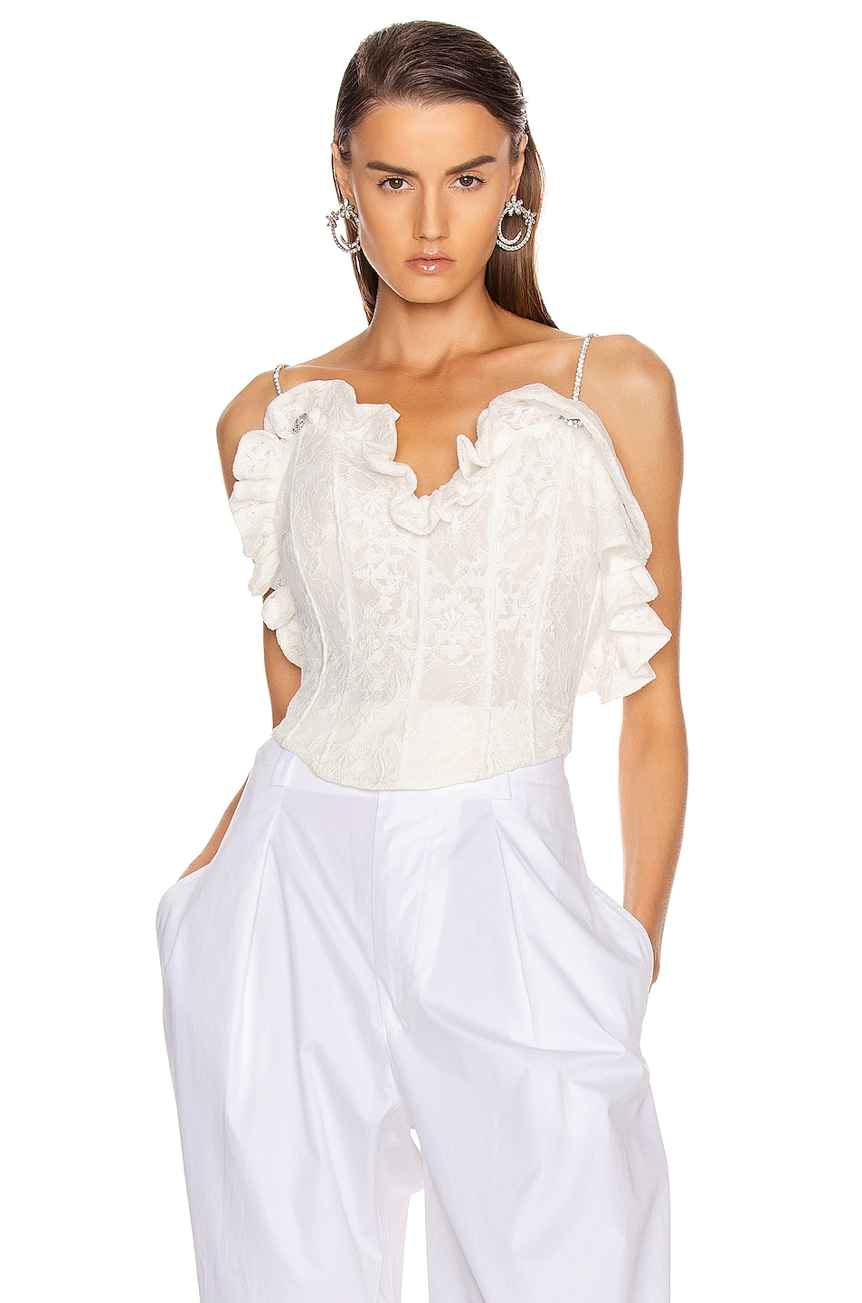 Image 2 of Magda Butrym Harlem Lace Corset Top in White