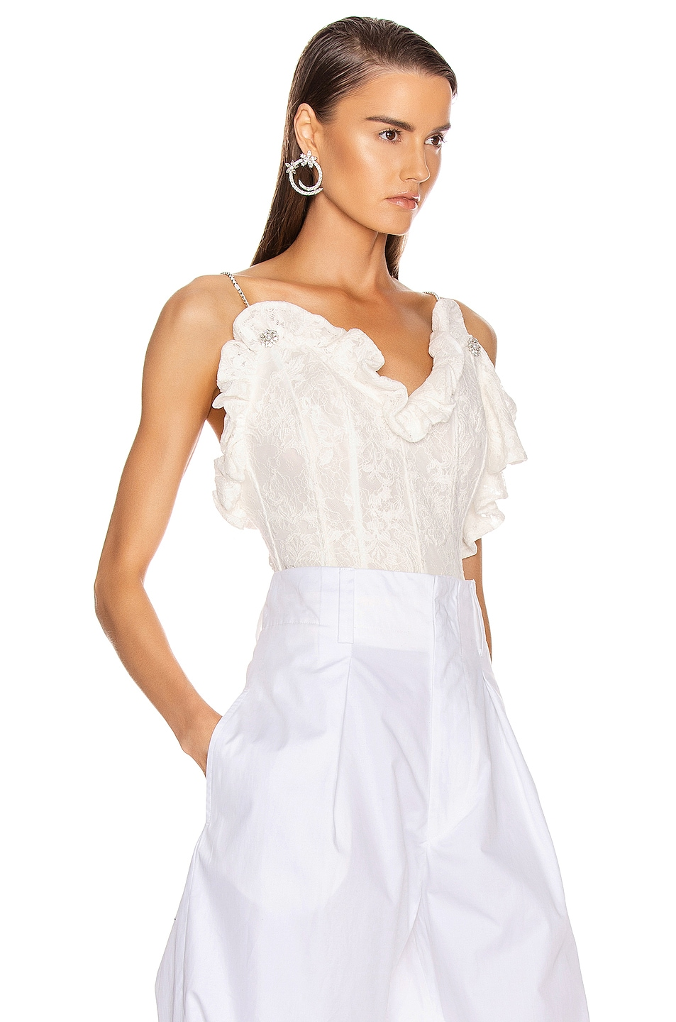 Image 3 of Magda Butrym Harlem Lace Corset Top in White