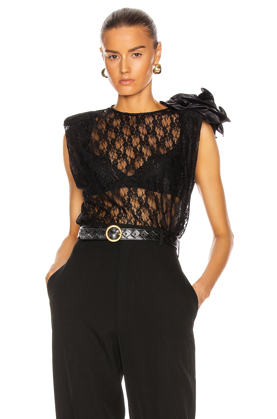 Image 1 of Magda Butrym Lace Blouse in Black