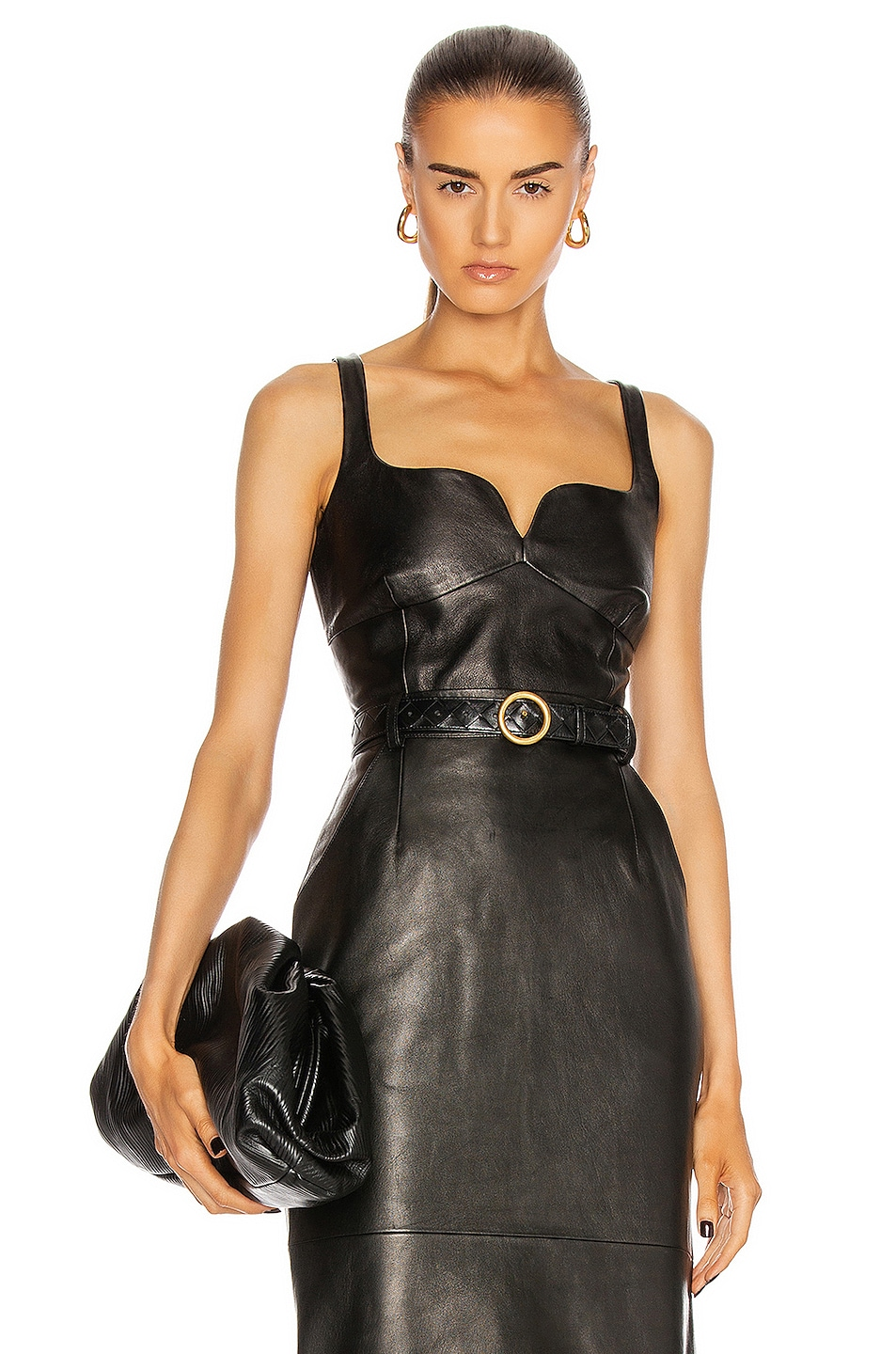 Image 1 of Magda Butrym Leather Bustier Top in Black