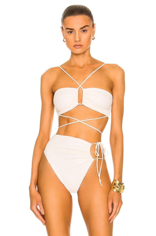 Image 1 of Magda Butrym Wrap Tie Bikini Top in Cream