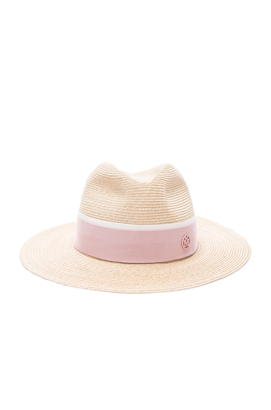 Maison Michel Henrietta Timeless Straw Hat With Thin Canapa In Brown