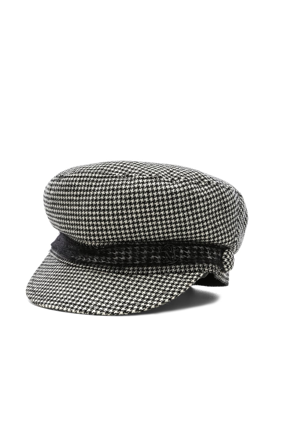 Image 2 of Maison Michel New Abby Wool Cashmere Dogtooth Hat in Black & Cream