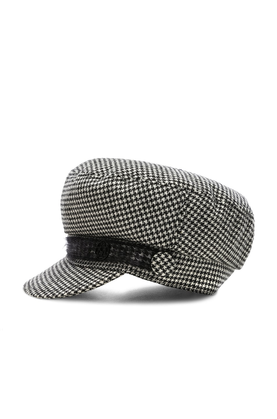 Image 3 of Maison Michel New Abby Wool Cashmere Dogtooth Hat in Black & Cream