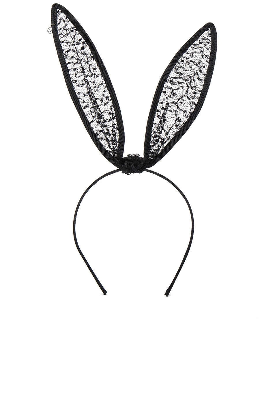 Image 1 of Maison Michel Lace Bow Rabbit Ears in Black