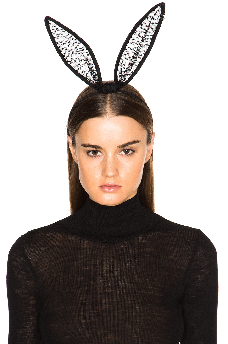 Image 2 of Maison Michel Lace Bow Rabbit Ears in Black