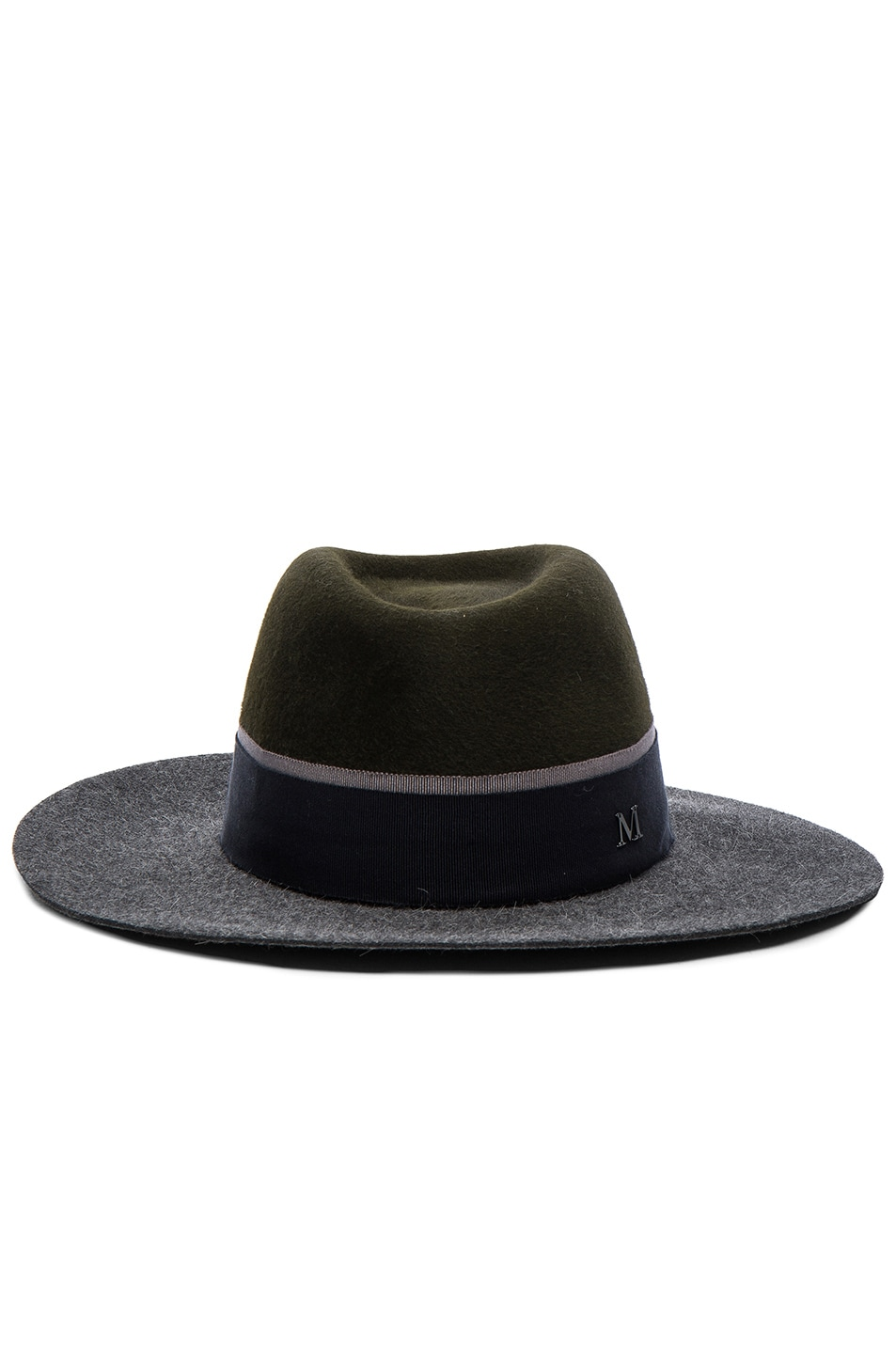 Image 1 of Maison Michel Double Rabbit Felt Charles Hat in Grey & Khaki