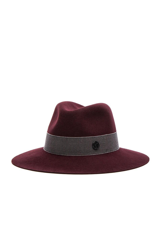 Image 3 of Maison Michel Henrietta Boyfriend Felt Hat in Rouge Noir
