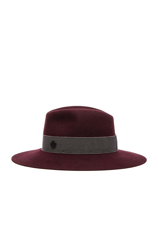 Image 4 of Maison Michel Henrietta Boyfriend Felt Hat in Rouge Noir