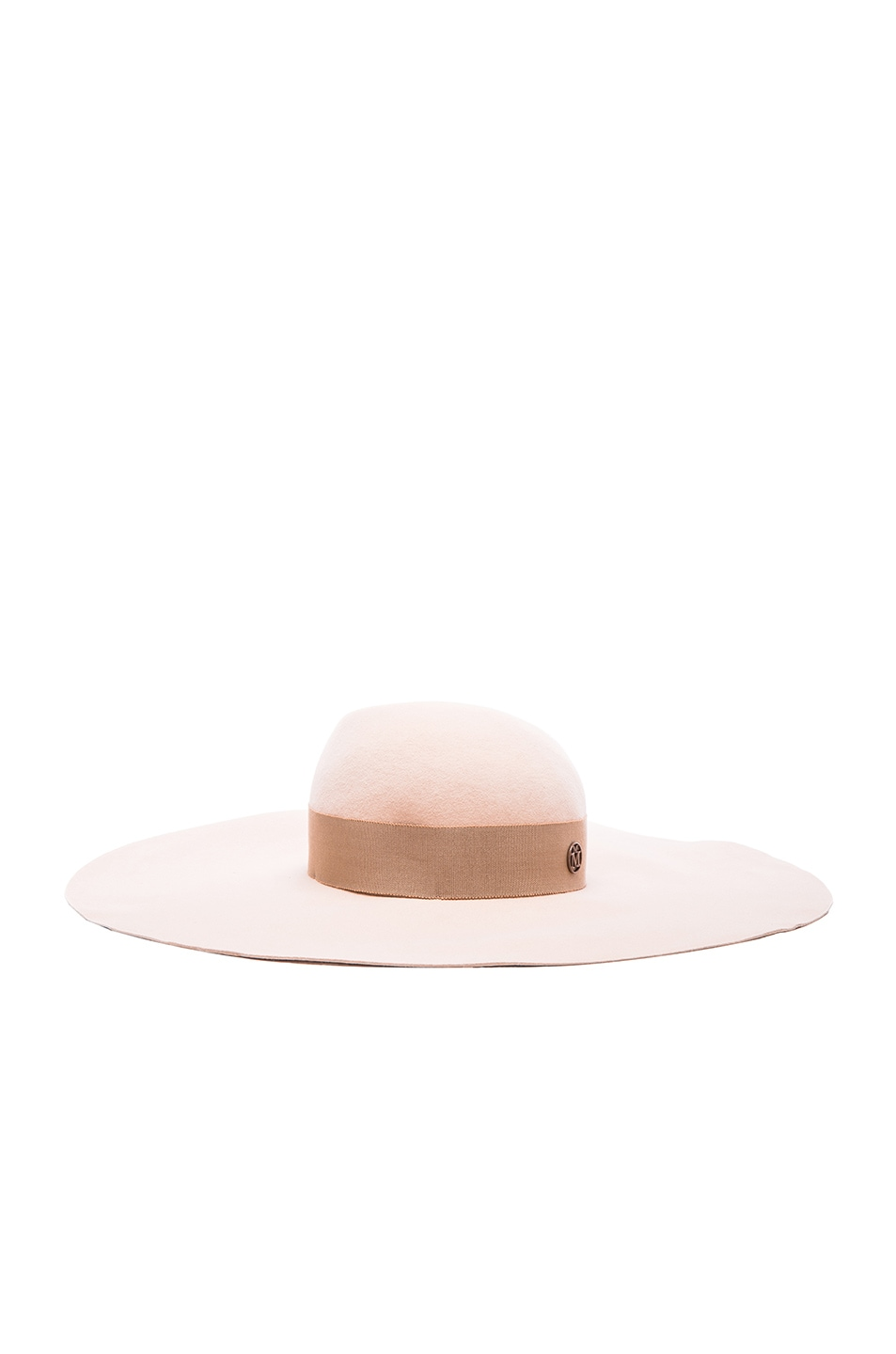 Image 1 of Maison Michel Lucia Wavy Large Brim Hat in Nude