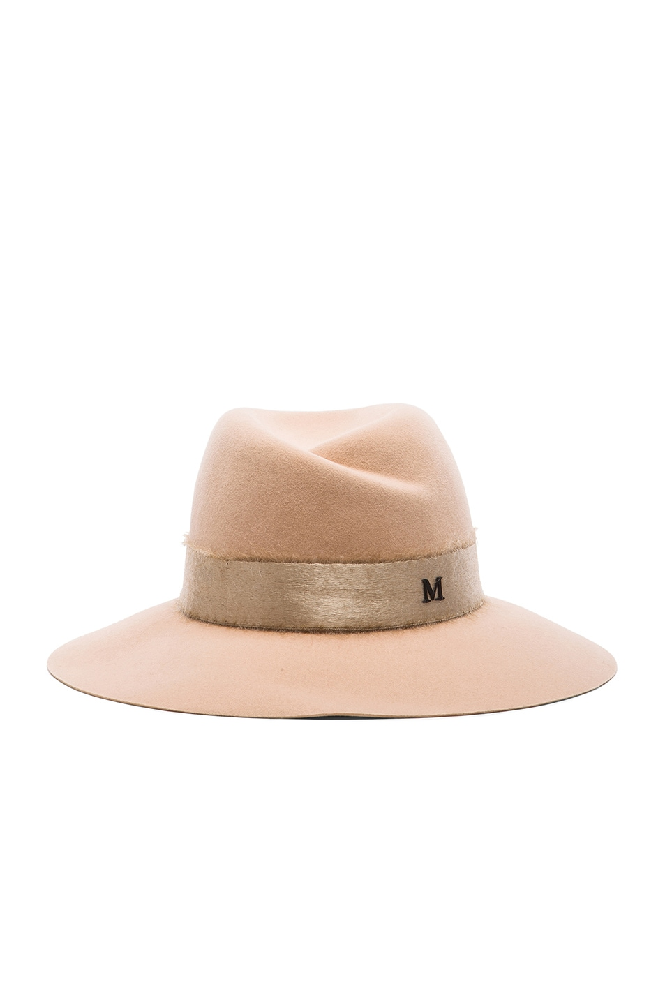 Image 1 of Maison Michel Virginie Hat with Mohair Ribbon in Almond
