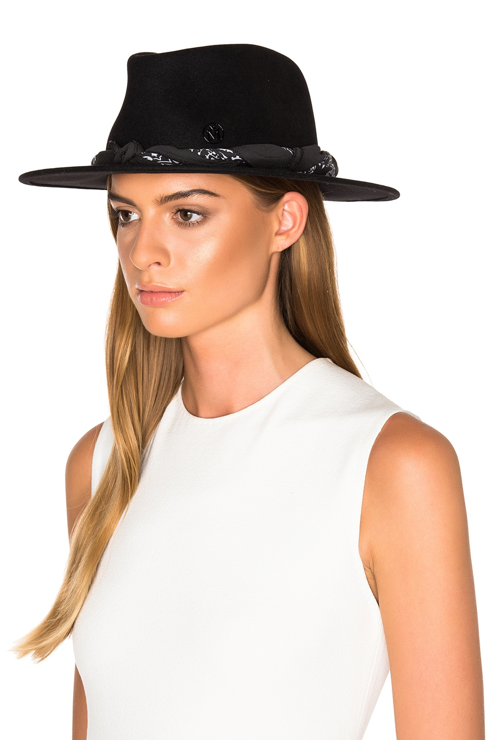 Image 2 of Maison Michel Thadee Masculine Plain Hat in Black