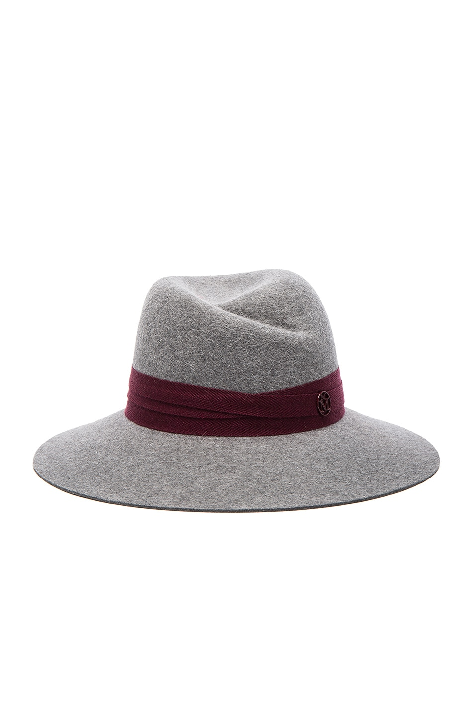 Image 1 of Maison Michel Virginie Hat in Grey & Bordeaux