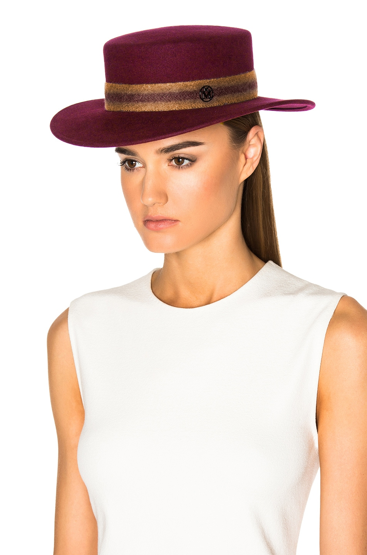 Image 5 of Maison Michel Kiki Hat in Sticky Cherry