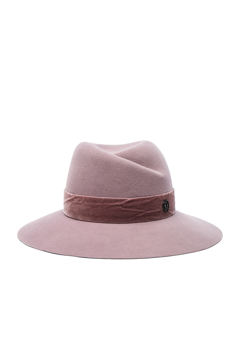 Image 1 of Maison Michel Virginie Hat with Velvet in Kick Pink