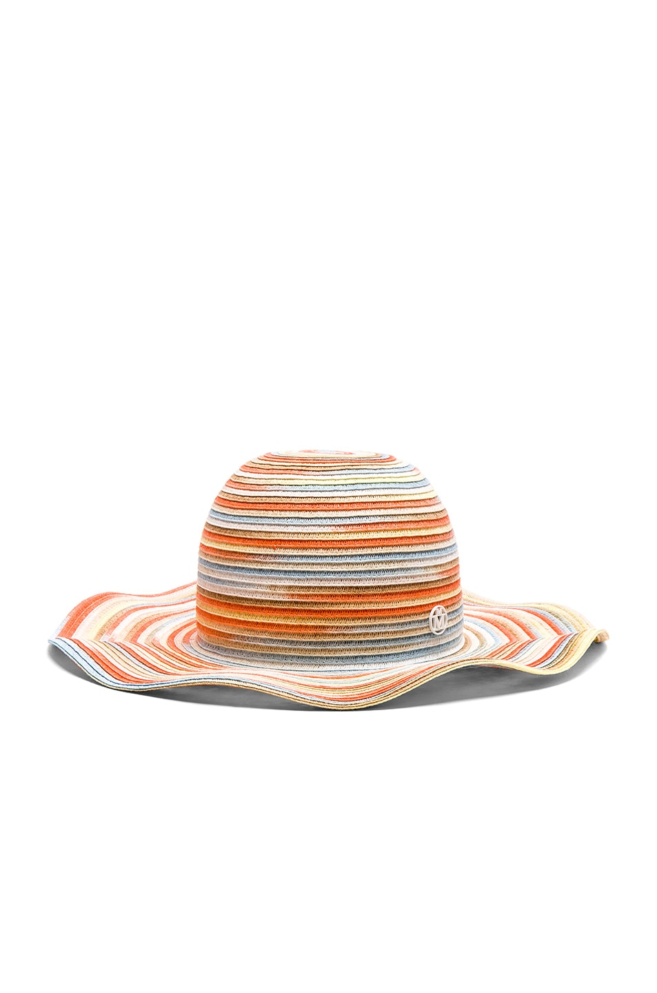 Image 1 of Maison Michel for FWRD Short Capeline Paper Straw Hat in Bleach Color Tie Dye