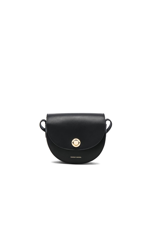 Image 1 of Mansur Gavriel Mini Saddle Bag in Black Vegetable Tanned