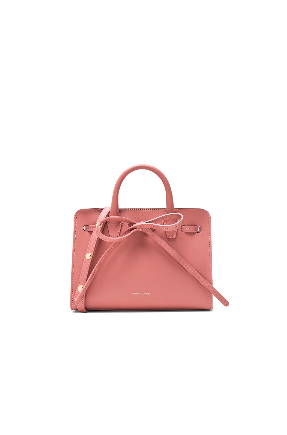 346e2a998da4b Image 1 of Mansur Gavriel Mini Mini Sun Bag in Blush Calf